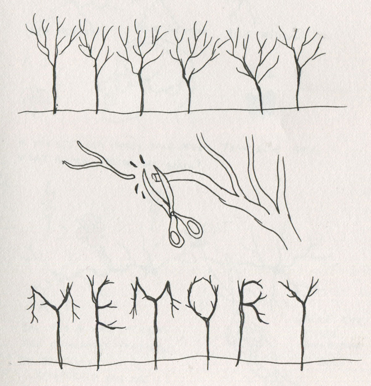 Sketch of comic panel about memory